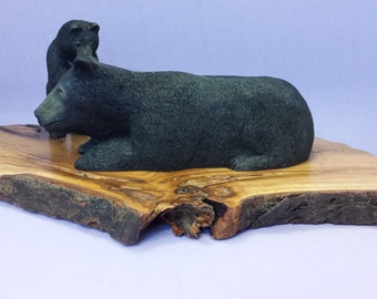 Wood carving mother black bear and cub carved wood wildlife sculpture collectible animal carvings rustic decor gift for him gift for her