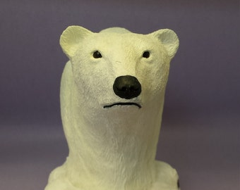 Wood carving hand carved polar bear bust wildlife collectible animal figurines taxidermy style rustic log cabin decor hunters gift OOAK