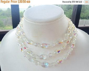 MOVING SALE Half Off Stunning Vintage Three Strand Aurora Borealis Crystal Beaded Necklace