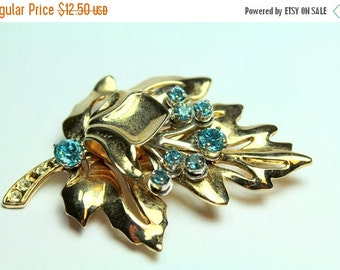 MOVING SALE Half Off Pretty broken But Beautiful Signed Barclay Vintage Gold Leaf and Blue Rhinestone Brooch