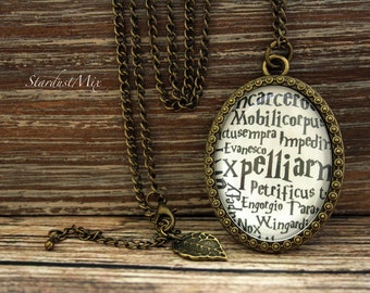 Necklace magic spell,vintage,retro,antique,chain,Harry Potter spells,book quote necklace,maggic,Harry Potter magic spells,Harry Potter fans