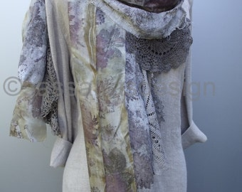 Linen scarf, hand printed wrap, botanical dyed artistic scarf, eco print, bohemian style, hand dyed silk scarf, summer scarf,  linen shawl