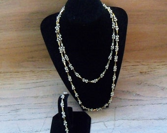 Vintage Necklace and Bracelet Set 2 Strands Pearls Gold Tone Metal Wedding Jewelry Bridal Party Prom Gift for Her