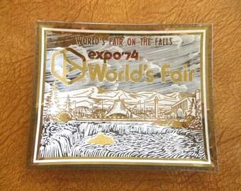 Expo 74 World's Fair Spokane WA - Souvenir Glass Dish - World's Fair On The Falls