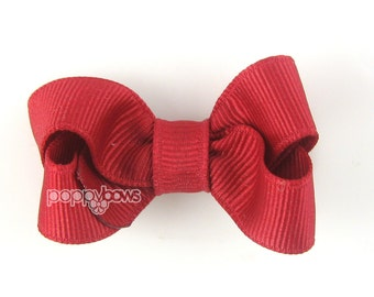 Small Hair Bow 2 Inch in Rich Red- Toddler Hairbow Non Slip Alligator Clip - for Baby Girls -Hair Bow Cranberry Dark Red
