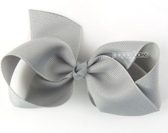 Gray Loopy Pinwheel Hair Bow - Loopy Hairbow 3.5 Inch Solid Color Boutique Bow for Baby Toddler Girls 1.5 Inch Wide Ribbon Grey