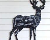 Butcher Deer Sign Venison Deer Meat Cuts Names Wooden Butcher Shop Sign Rustic Deer Home Decor Kitchen Hunting Wall Decor