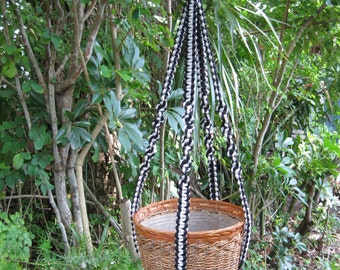 Black Shadow Gray 40 Inch No Beads Macrame Plant Hanger