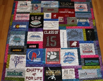 Twin size Quilt made using High School t shirts