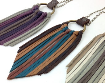Leather Fringe Chain Necklace - Antique Brass Chain and Ring with Brown, Tan, and  Turquoise Leather Fringe