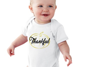 Thankful Gold Pumpkin baby bodysuit or girl Shirt