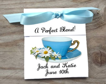 Bluer than Blue Teacup Tea Bag Bridal Shower Party Favor Wedding Favors Rehearsal Dinner