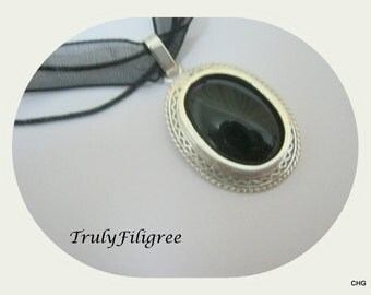 Handmade Sterling Silver Pendant / Black Onyx Gemstone  / Organza Cord