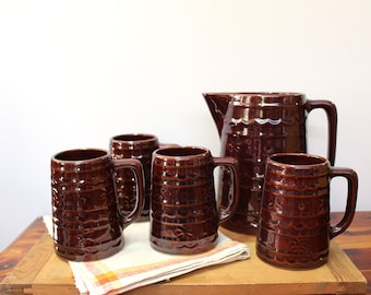 Vintage Mar-crest daisy and dot beverage pitcher and 4 German beer steins - Marcrest 1950s supermarket stoneware - cold summer beverages