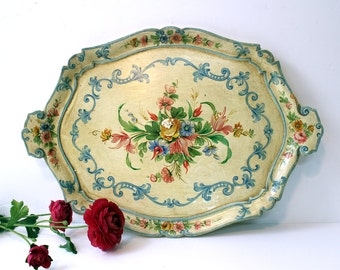 Vintage 1960s florentine serving tray - Bavarian flowers on an antiqued tray - chippy shabby gesso painted tray - cottage decor