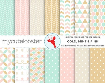 Gold, Mint and Pink Digital Paper Set - patterned paper pack, polka dot, triangles - personal use, small commercial use, instant download