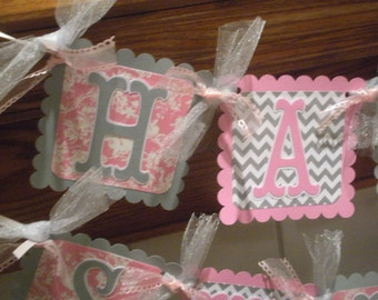 Birthday Banner, Pink Floral Gray Chevron Banner, Happy Birthday or Sweet 16 Banner,   Matching Pom Poms Available