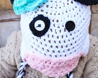 Girl Cow Earflap Hat