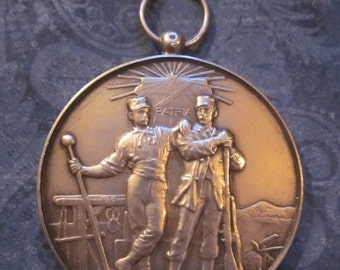 On Sale Antique French Art Medal Sterling Silver Brothers In Arms Pendant 1901  SS438  49.2 Grams