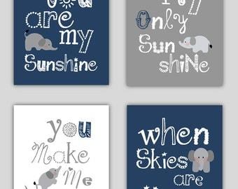 Elephant Art // You are my sunshine Navy Blue and Gray Art Prints // Navy Nursery Decor // Navy Blue Nursery Wall Art // Four PRINTS ONLY