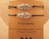 Feather Bracelet: Birds of a Feather Adjustable Bracelet, Choose Your Own, Feather Charm, Feather Bracelet, Colour Choice, Best Friend