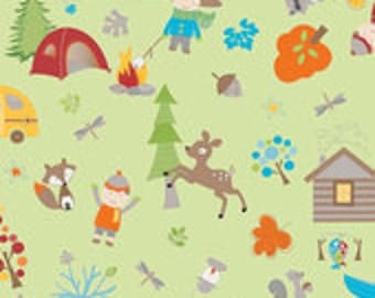 Fox Trails Main Green C2680 Doohikey Designs Riley Blake Designs Camping Deer Cabin Fishing Out of Print Hard to Find oop htf One Yard