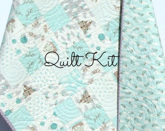 Storybook Quilt Kit, Baby Boy Blanket, Moda by Kate and Birdie, Cheater Panel, Quick Simple Easy Beginner, Backing Binding Top, DIY