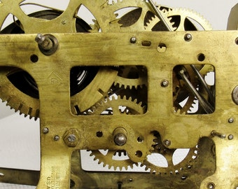 Gilbert Clock Movement: 1904 Brass Clockworks