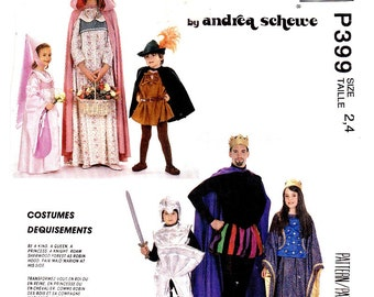 McCall's 4404 Childs Royal Costumes: King, Queen, Knight, Princess, Robin Hood, Maid Marian, Size 2 4 Uncut Pattern