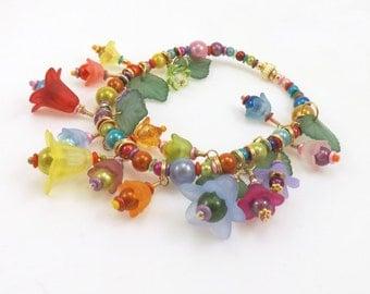 Flower and Leaf Charm Bracelet, Stretch Bracelet, 8 inches (20.3cm) inside unstretched, Bracelet and Earring Set