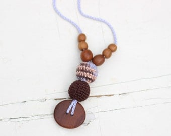 SALE Best Babywearing Necklace in Chocolate & Lavender Stripes - Apple Wood - Mama Jewelry, Breastfeeding Accessories
