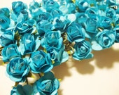 Mini Turquoise  Mulberry Paper Roses Flowers - 4 Bunches