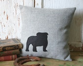 Bulldog Silhouette Pillow Cover - Gray Wool, 14 Inch, Accent Pillow, Throw Pillow