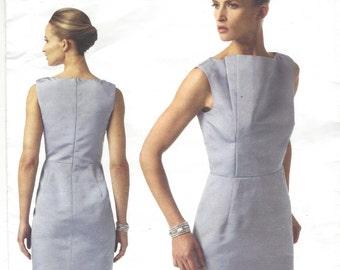 Pamella Roland Womens Dress Bateau Neckline OOP Vogue Sewing Pattern V1340 Size 8 10 12 14 16 Bust 31 1/2 to 38 UnCut