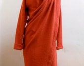 MARIA SEVERYNA  Orange Asymmetric Wrap Duster Jacket Spring Coat Handmade