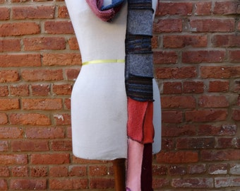 Upcycled Scarf,Bohemian Scarf,Patchwork Scarf,Winter Scarf,Shabby Chic Scarf,by Nine Muses Of Crete