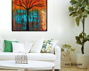 Abstract Landscape,Orange Abstract Landscape, Abstract Tree,Tree Silhouette,Tree Shadow,Red Blue Landscape, Christmas gift, unique gift