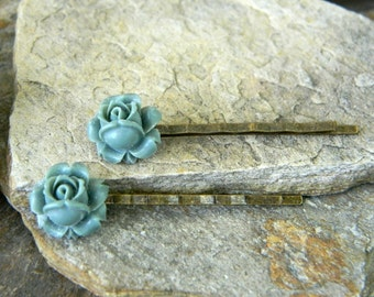 Flower hairpins dusty blue rose flower bobby pins nature inspired hairclips woodland hair accessories bridesmaid gift woodland wedding
