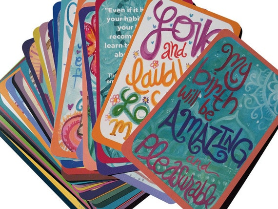 10 Decks of Pregnancy Affirmation Cards for Birth, Labor and Nursing by Lauren Tannehill Art