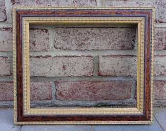 Vintage Red Flame Mahogany and Gold Decorative Frame