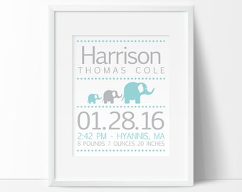 baby stats, elephant nursery, printable nursery wall art, personalized baby gift, nursery PRINTABLE, birth details print, elephant