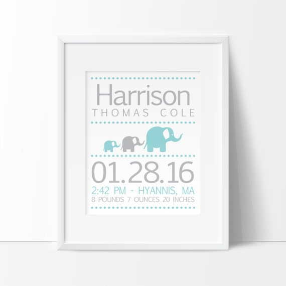 baby stats, elephant nursery, printable nursery wall art, personalized baby gift, nursery PRINTABLE, birth details print, elephant