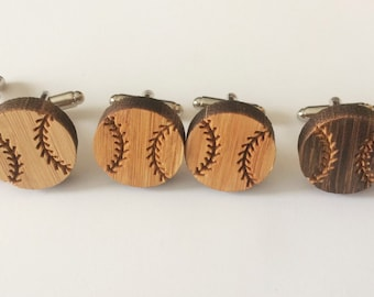 REAL WOOD CUFFLINKS / Baseball Cuff Links  / Gift for Baseball Player / Choice of Stain Color  / 5th anniversary  /Gift Boxed
