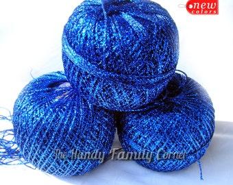 Brocat yarn. Glitter Yarn, Shine, sparkle yarn, dark blue color (14) yarn, metal yarn, lame DSH(P2)
