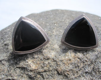 Black Onyx and Sterling Triangle Earrings