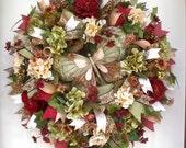 Tuscan Seasonal Wreath-Fall Wreath-Deco Mesh Wreath-Wall/Door Wreath-Above Fireplace-Earthtones-Burgundy, Sage, Creams-Butterfly Wreath-Gift