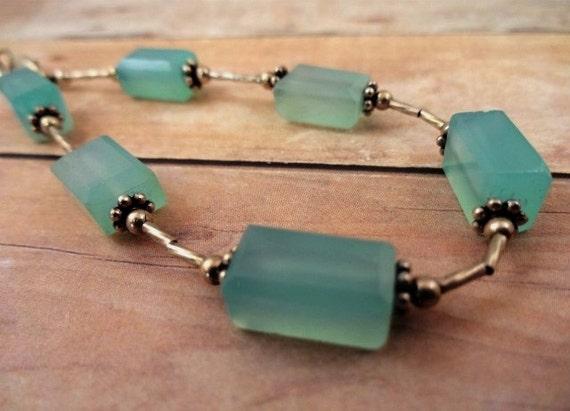 Chalcedony Bracelet, Silver and Aqua Bracelet, Chalcedony Jewelry, Blue Chalcedony Bracelet, Sterling Silver Bracelet