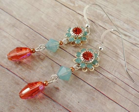 Swarovski Crystal Flower Earrings in Padparadscha & Pacific Opal