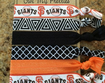 FOE Elastic Hair Ties GAME DAY Collection San Francisco Giants Baseball Toddlers Girls Women -Set of 5-