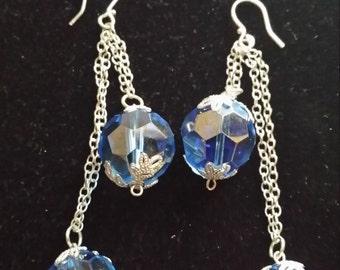 Faceted Blue Glass Earrings